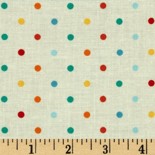white cotton fabric with multi coloured dots